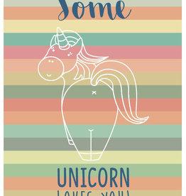 Roos met Witte Stippen Postkaart Some Unicorn Loves You