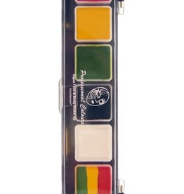 PartyXplosion Palette Reggae 5 x 3 and 1 x 6 gram rasta colours palet with brush size 25 Regular colours and 1 splitcake