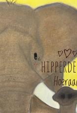 snoetjes vol sproetjes Kaartje Olifant vierkant - Hieperdepiep Hoeraaa!