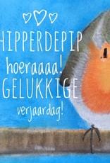 snoetjes vol sproetjes Kaartje Roodborstje vierkant - Hipperdepip Hoeraaa! Gelukkige verjaardag!