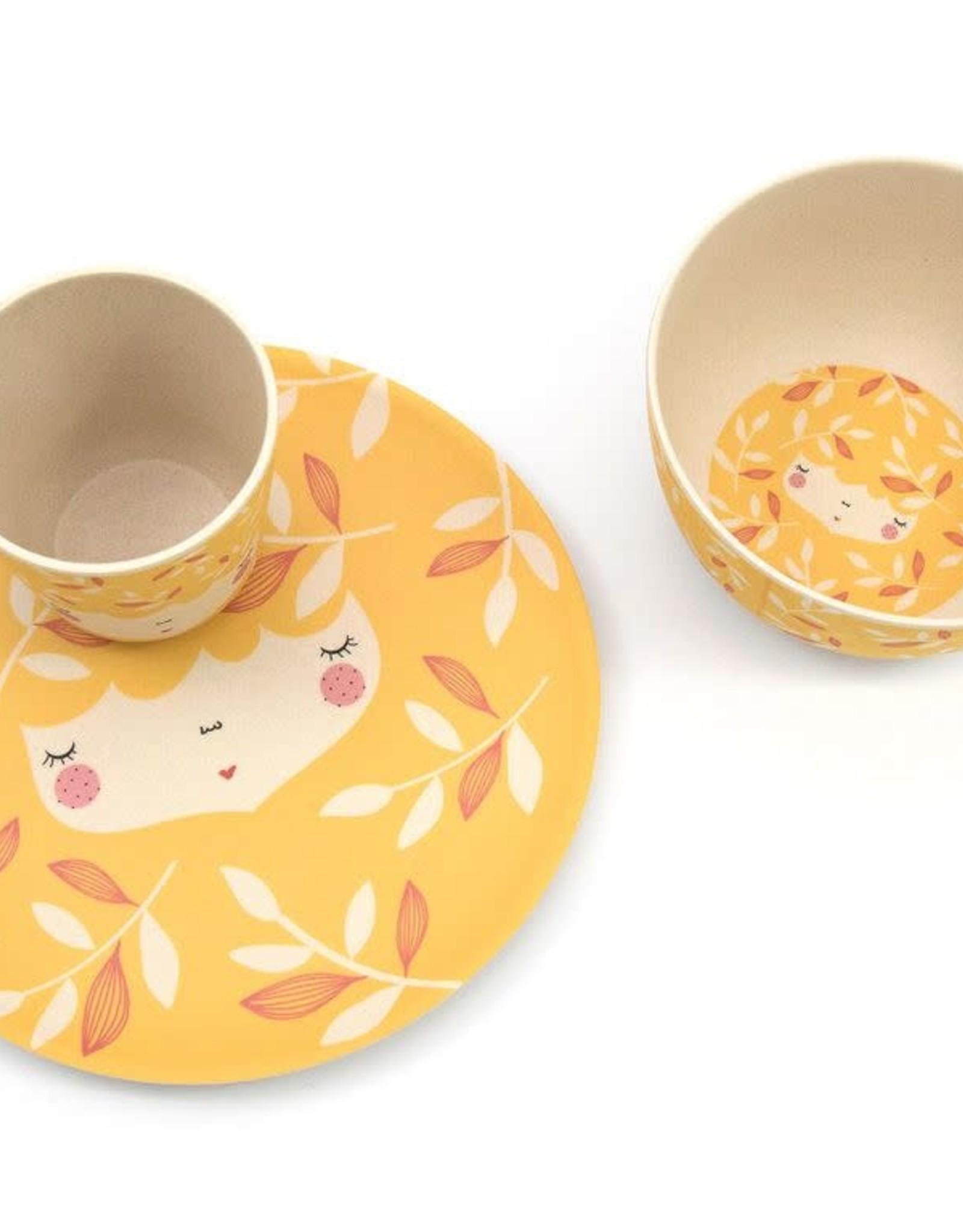 Yuunaa Bamboo Kids Set - Marinska Flower Face Yellow- 3 pieces