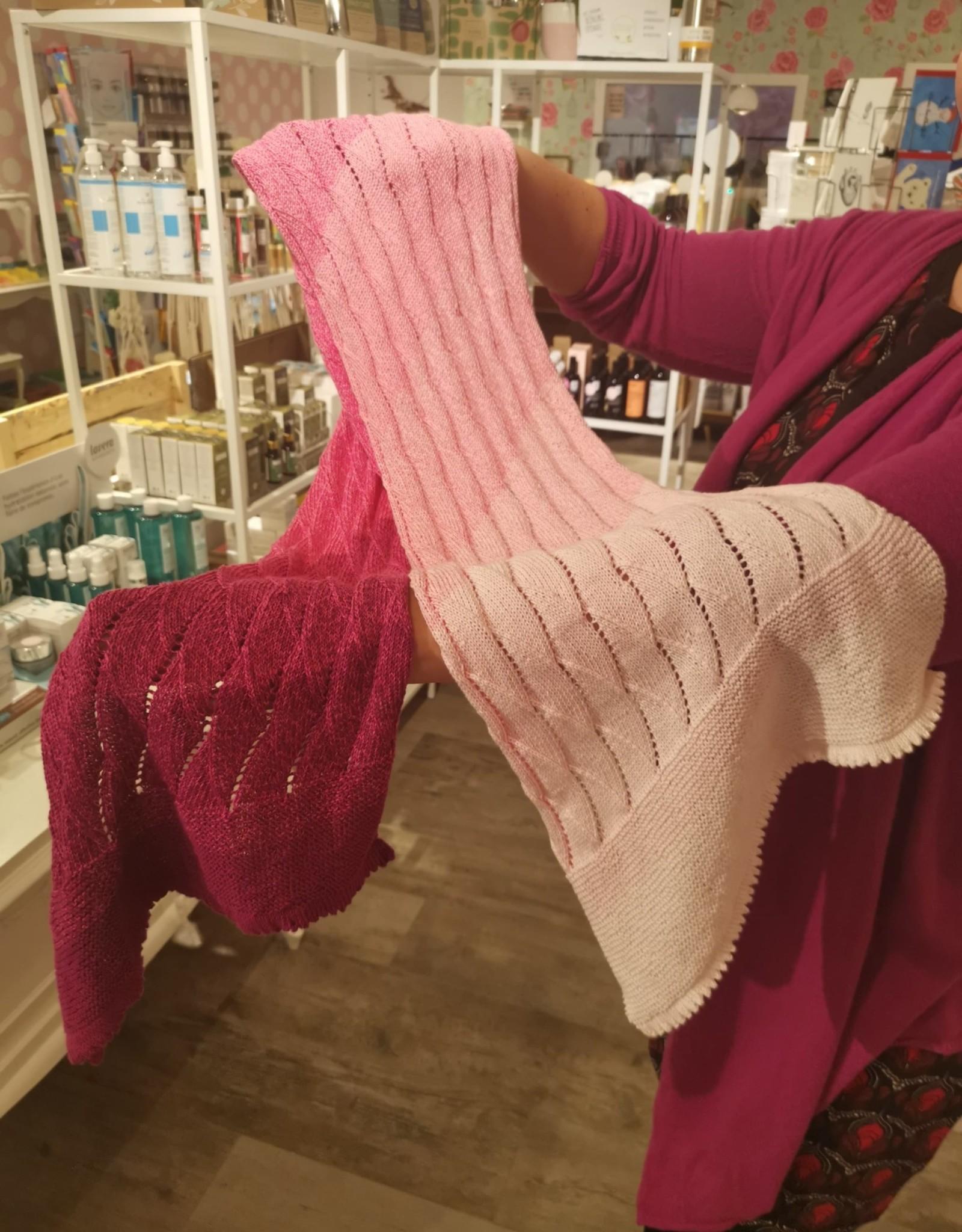 Roos met Witte Stippen Homemade sjaal regenboog roos 100% katoen