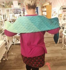 Roos met Witte Stippen Homemade sjaal regenboog turquoise 100% katoen