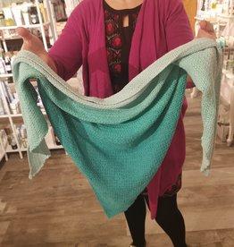 Roos met Witte Stippen Homemade sjaal punt turquoise 100% katoen