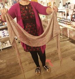 Roos met Witte Stippen Homemade sjaal linnen 30% met viscose 70% - champagne kleur
