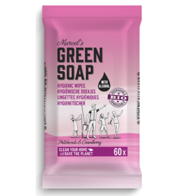 Marcel's Green Soap Cleansing whipes patchouli & cranberry bio 60 stuks