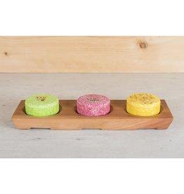 Happy Soaps Houder van Mahonie Hout voor 3 Shampoo Bars