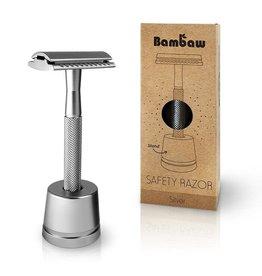 Bambaw Bambaw Safety Razor Silver Handle met sokkel