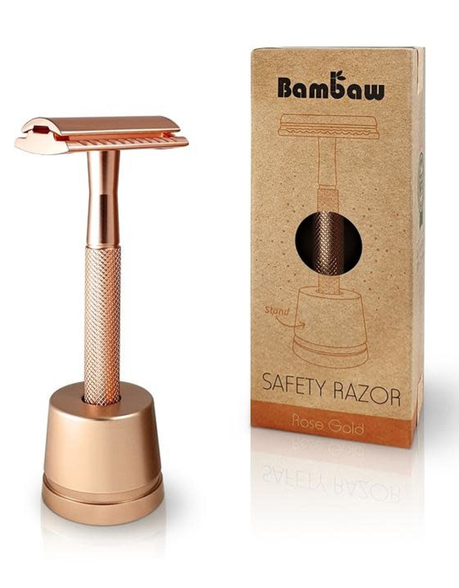Bambaw Bambaw Safety Razor Rosegoud Handle met sokkel
