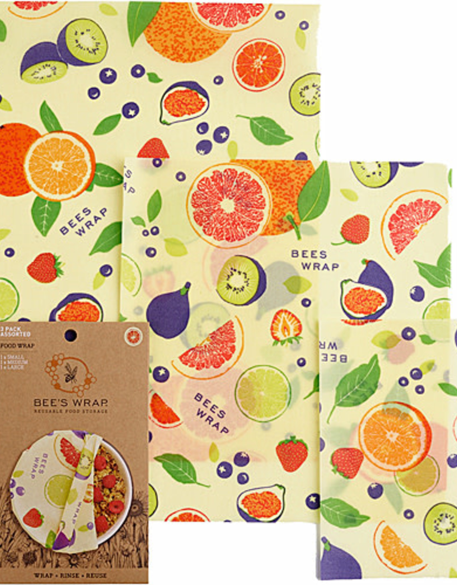 """Bee's Wrap Bee's Wrap - 3-pack Assorted """"Fresh Fruit"""""""