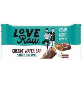 Love Raw Love raw cream filled waffer bars salted caramel 43g