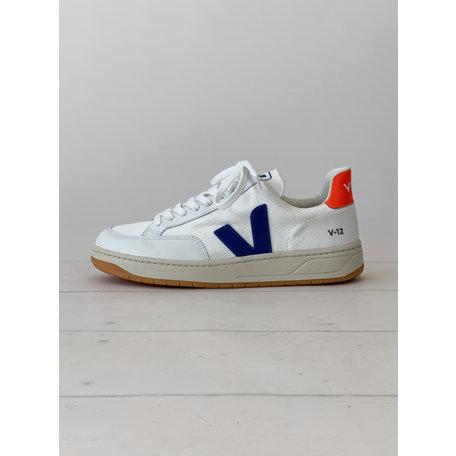VEJA V-12 B-MESH white indigo orange-fluo