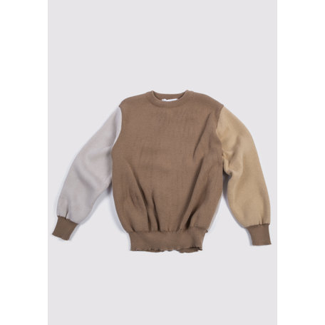 CONTRAST PANEL CREW KNIT