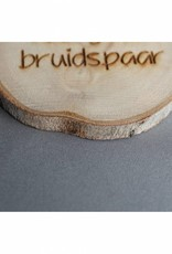 """Houten cadeau-label - """"Veel geluk bruidspaar"""""""