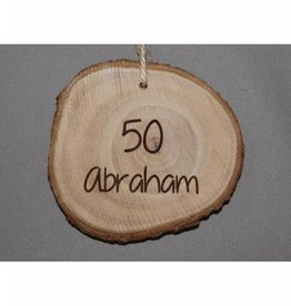 """Houten cadeau-label - """"Abraham 50"""""""