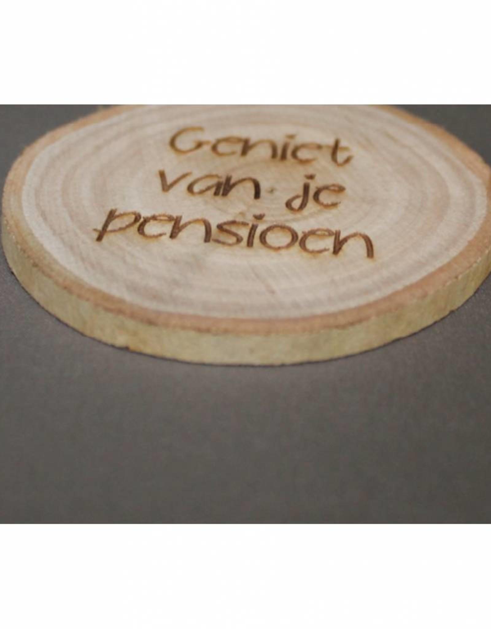 """Houten cadeau-label - """"Geniet van je pensioen"""""""