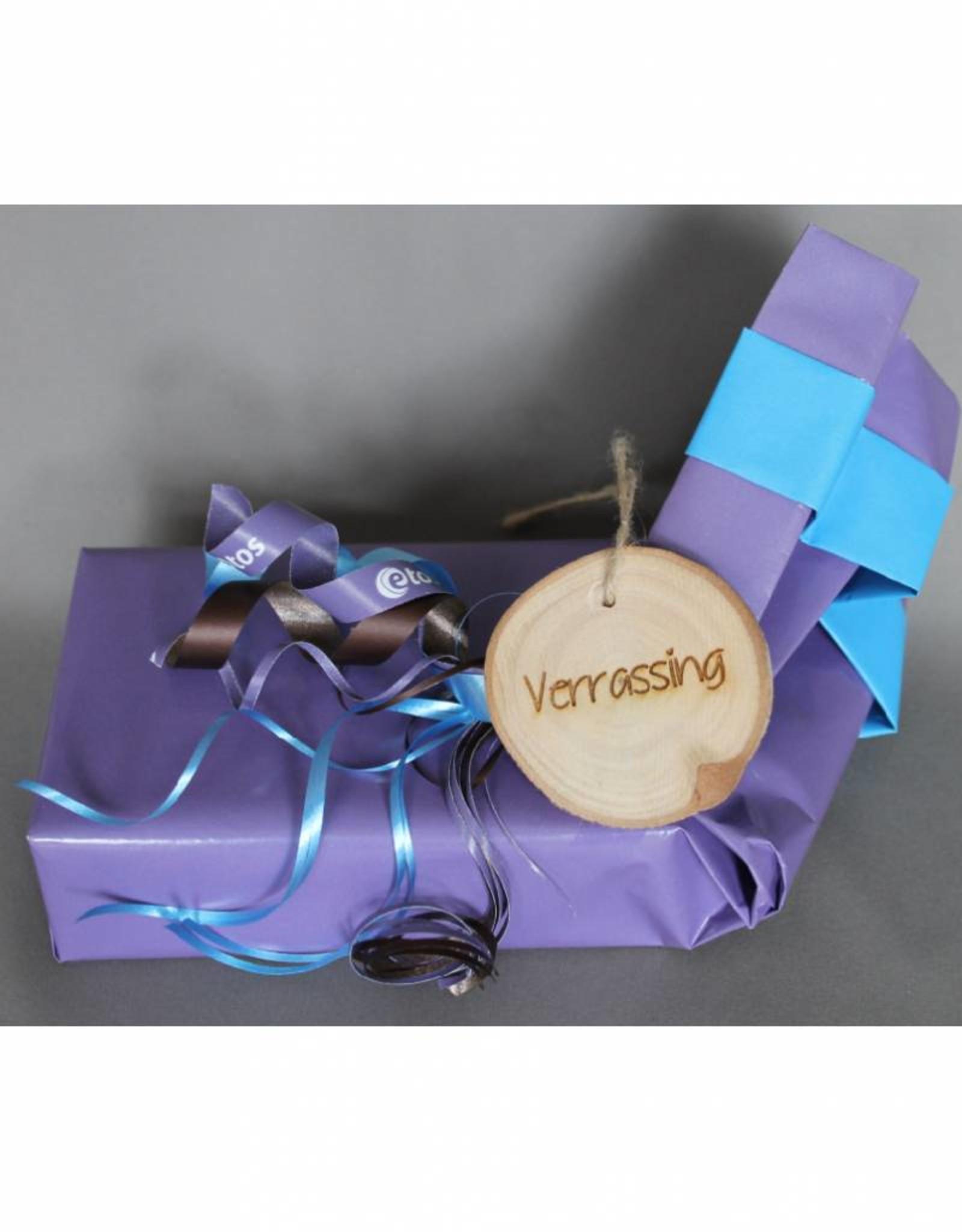 "Houten cadeau-label - ""Verrassing"""
