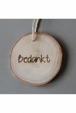 """Houten cadeau-label - """"Bedankt"""""""