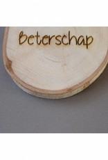 """Houten cadeau-label - """"Beterschap"""""""