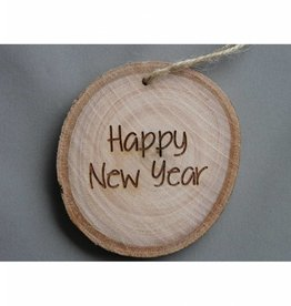 "Houten cadeau-label - ""Happy New Year"""