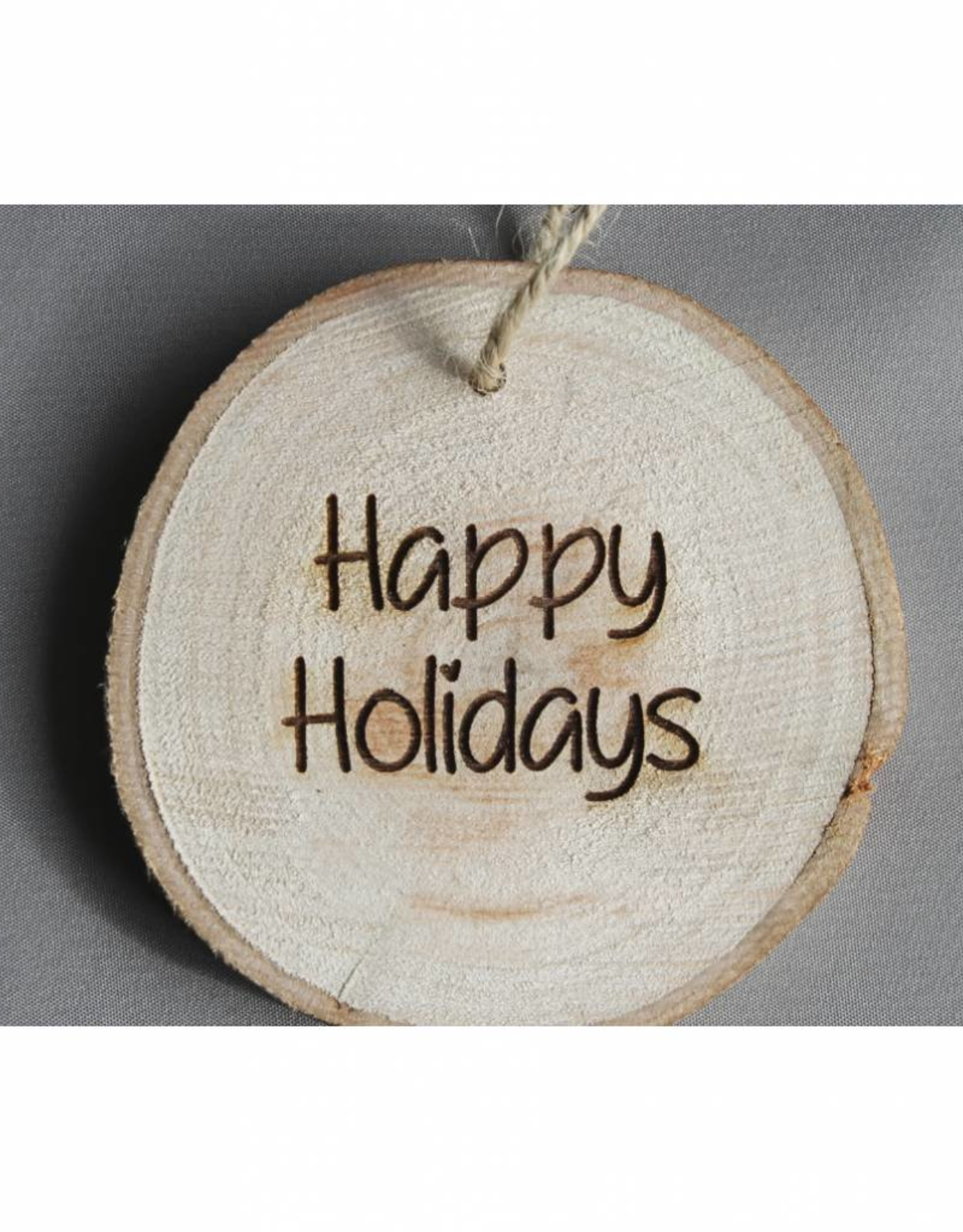 "Houten cadeau-label - ""Happy holidays"""