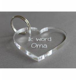 """Sleutelhanger hartje """"Ik word Oma"""""""