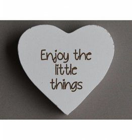 "Magneethart wit ""Enjoy the little things"""
