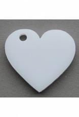 wit hartje groot met gaatje voor aan armband of ketting