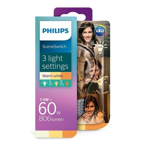 Philips Lichtbron Philips Classic LED bulb A60 7.5W SceneSwitch Helder