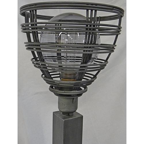 Tafellamp Molfetta metaal, draadlamp zwart/grijs