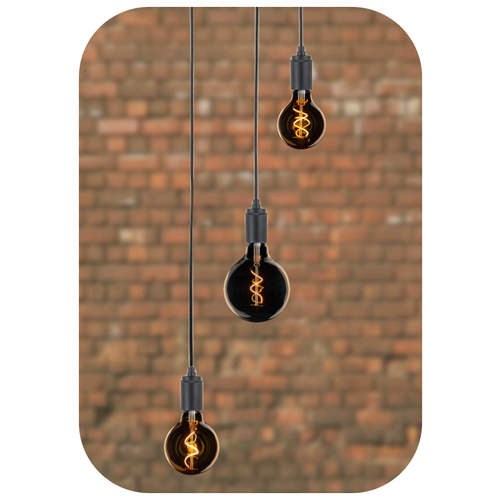 Plus 31 Dutch Lamp Design Pendel 3 lichts zwart metaal Spirale amber