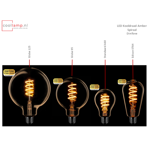 ETH Lichtbron LED Kooldraad Spiraal Globe 95 DimTone Amber