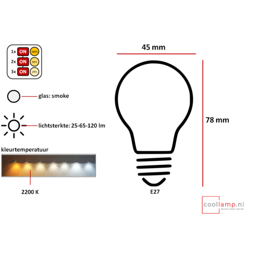 ETH Lichtbron LED Kooldraad Spiraal Kogel SceneSwitch Smoke