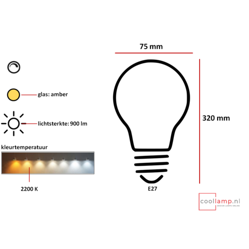 ETH Lichtbron LED Kooldraad Buis XXL 8.0W Staaf Amber