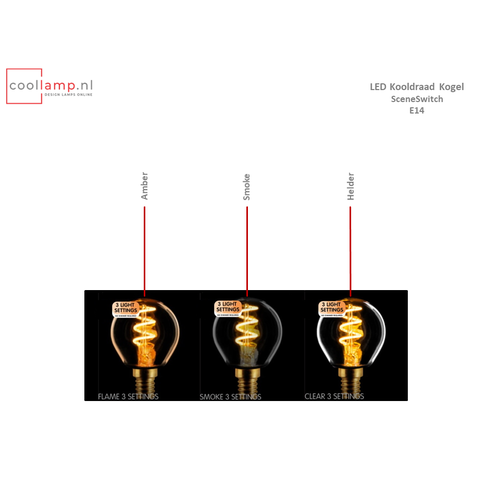 ETH Lichtbron LED Kooldraad Spiraal Kogel SceneSwitch Helder E14