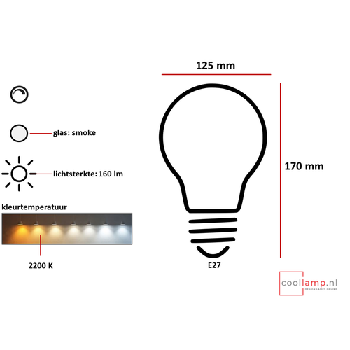 ETH Lichtbron LED Kooldraad Globe 125 8.0W Smoke