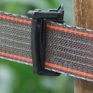 Lint, bruin/rood versterkt KOLTEC, 200 mtr 40 mm, 0,50 mm PE + 16*0,20 RVS/INOX + 2*0,30 Cu, breekkracht 345 kg, weerstand 0,12 Ohm/mtr
