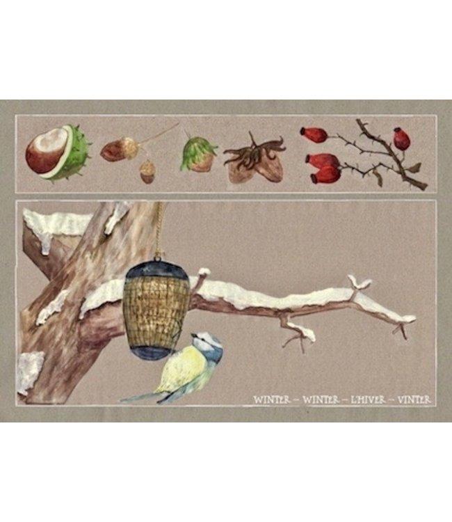 schnurkarten Winter auf dem Apfelbaum