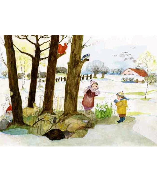 schnurkarten Letzter Schnee und erste Frühblüher