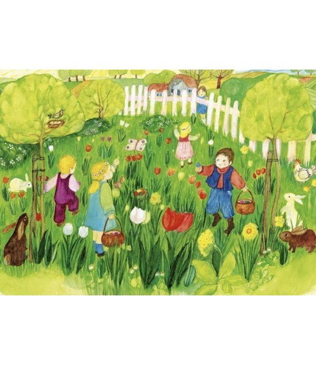 schnurkarten Blumenwiese mit Ostereiern