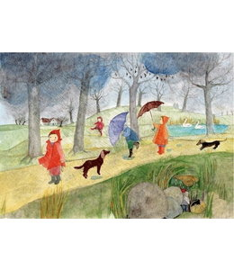 schnurkarten Im Regen spazieren
