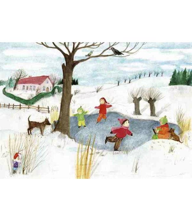 schnurkarten Winterkälte und Schlittschuhlaufen