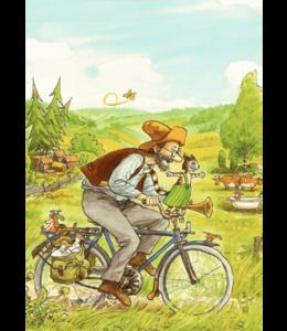 Hjelm Förlag Pettersson und Findus auf dem Fahrrad
