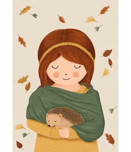 Vierundfünfzig Illustration Mädchen mit IGEL im Herbst