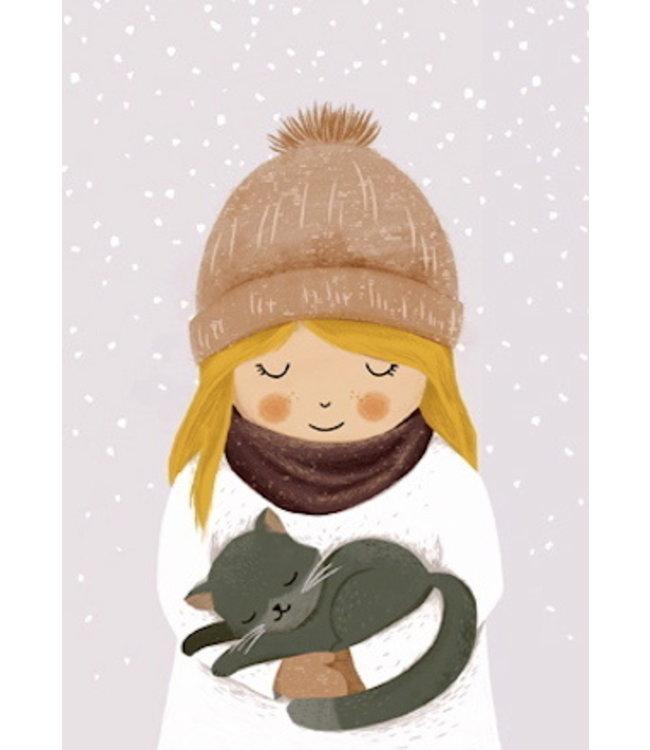 Vierundfünfzig Illustration Mädchen mit KATZE im Winter