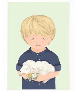 Vierundfünfzig Illustration Junge mit Schäfchen