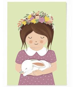 Vierundfünfzig Illustration Mädchen mit Hase
