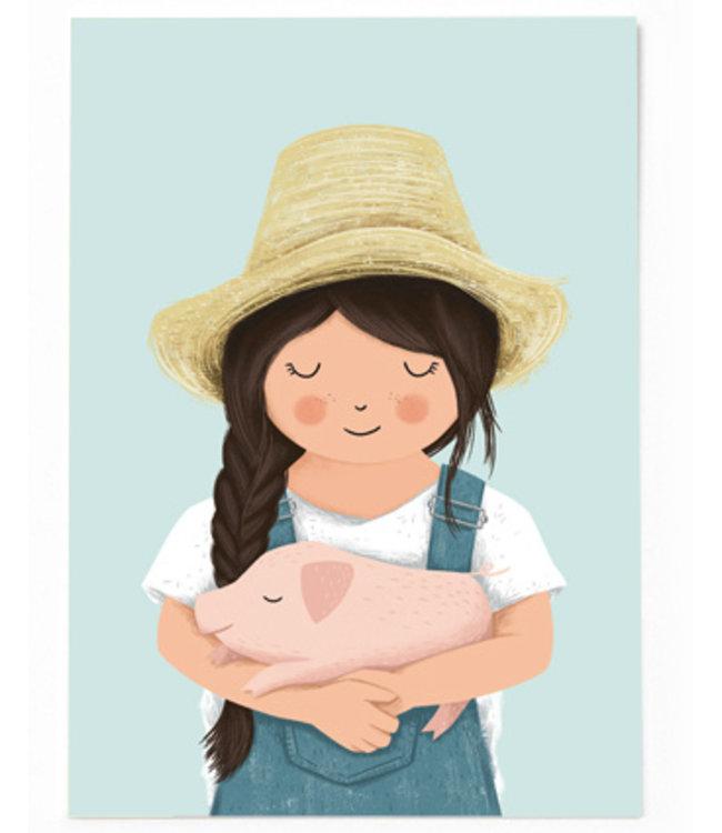Vierundfünfzig Illustration Mädchen mit Ferkel