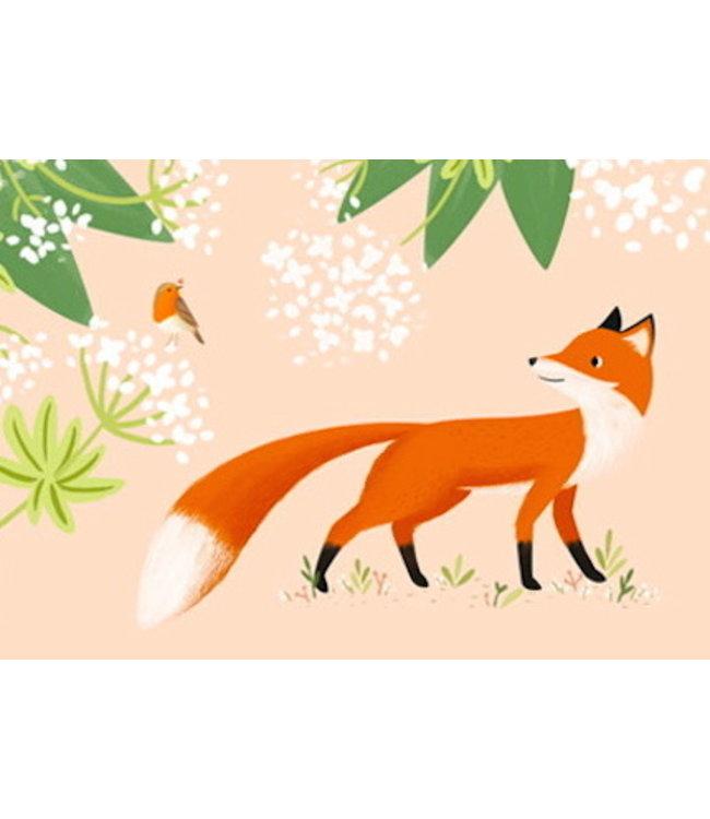 Vierundfünfzig Illustration Fuchs und Rotkehlchen