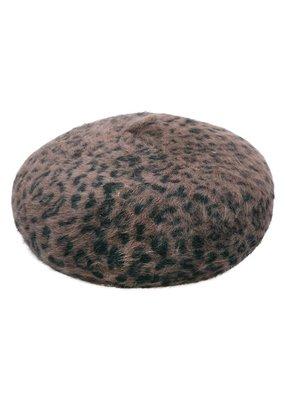 Baret panterprint donker bruin